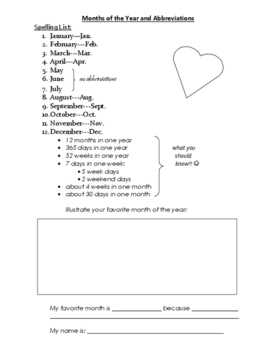 Spelling List for Months of the Year with Abbreviations
