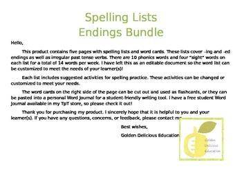 """Spelling List """"-ing"""" and """"-ed"""" Endings Bundle"""