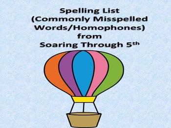 Spelling List of Commonly Misspelled Words/Homophones