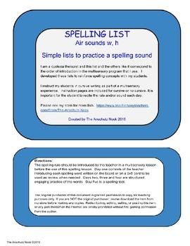Spelling List w, h