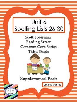 Spelling Lists 26-30 Supplemental Packet--Reading Street Third Grade