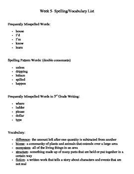 Spelling Lists 3rd Grade