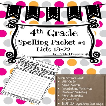Spelling Lists 4th Grade--Common Core Standards--Packet #4