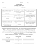 Spelling Lists & Activities (4th Grade) based off of Houghton Mifflin