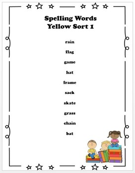 Spelling Lists Bundle for Red Word Sorts 7-50 and Yellow Word Sorts 1-50
