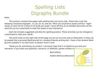 Spelling Lists Digraphs Bundle