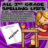 Spelling Lists ONLY--3rd Grade--Common Core Standards