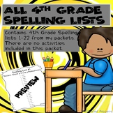 Spelling Lists ONLY--4th Grade--Common Core Standards