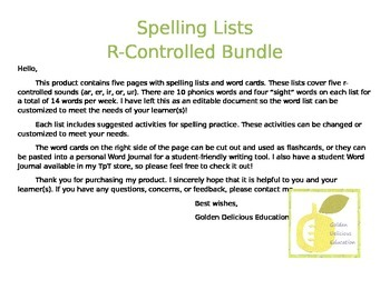 Spelling Lists R-Controlled Bundle