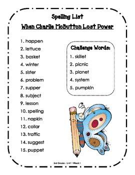 Spelling Lists - Reading Street 2013 - 3rd Grade - Unit 1 (Full Sheet)