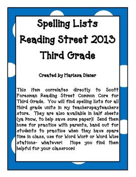 Spelling Lists - Reading Street 2013 - 3rd Grade - Unit 2 (Full Sheet)