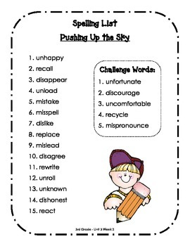 Spelling Lists - Reading Street 2013 - 3rd Grade - Unit 3 (Full Sheet)