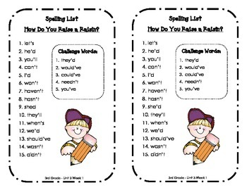 Spelling Lists - Reading Street 2013 - 3rd Grade - Unit 3 (Half Sheet)