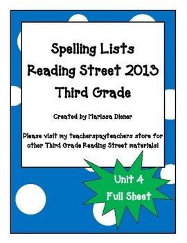 Spelling Lists - Reading Street 2013 - 3rd Grade - Unit 4 (Full Sheet)