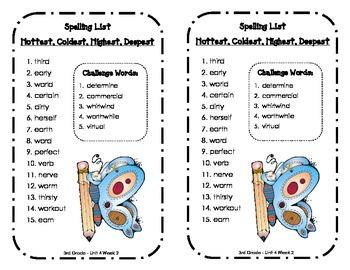 Spelling Lists - Reading Street 2013 - 3rd Grade - Unit 4 (Half Sheet)
