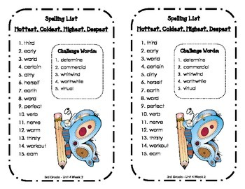 Spelling Lists - Reading Street 2013 - 3rd Grade - Unit 4 (Half Sheet)