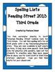 Spelling Lists - Reading Street 2013 - 3rd Grade - Unit 5 (Full Sheet)