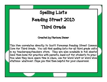 Spelling Lists - Reading Street 2013 - 3rd Grade - Unit 5 (Half Sheet)