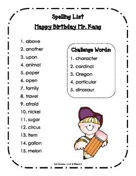 Spelling Lists - Reading Street 2013 - 3rd Grade - Unit 6 (Full Sheet)