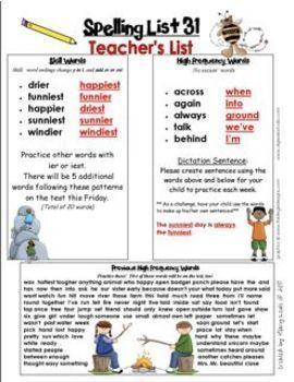 Second Grade Spelling Lists That Make Sense