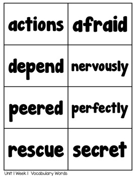 Spelling Lists, Vocabulary and High Frequency Words - Reading Wonders Unit 1