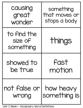 Spelling Lists, Vocabulary and High Frequency Words - Wonders Unit 3