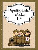 Spelling Lists Weeks 1-9