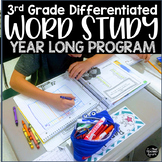 Year Long 3rd Grade Differentiated Word Study Spelling Unit Editable