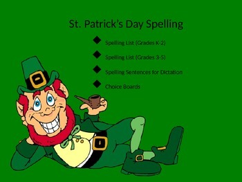 Spelling Lists and Choice Boards for St. Patrick's Day!