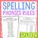 17 Phonics Spelling Lists, Rules, Quizzes, Interactive Notebook, Posters