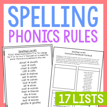 17 Phonics Spelling Lists, Rules, Quizzes, Interactive Not