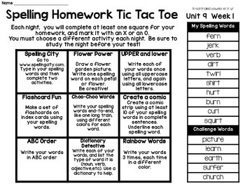 Spelling Menus: Lists and Choice Boards for Homework and Word Work