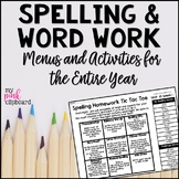 Editable Spelling Menus and Choice Boards for Homework and Word Work Activities