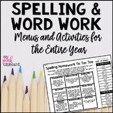Editable Spelling Menus & Choice Boards for Homework and Word Work