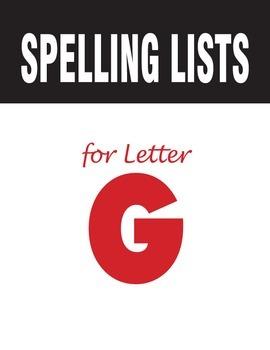 Spelling Lists for Consonant G