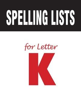 Spelling Lists for Consonant K