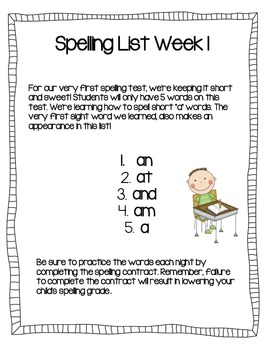 Spelling Lists for Emergent Readers and Writers