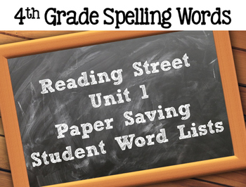 Spelling Lists for Reading Street - Paper Saver Version