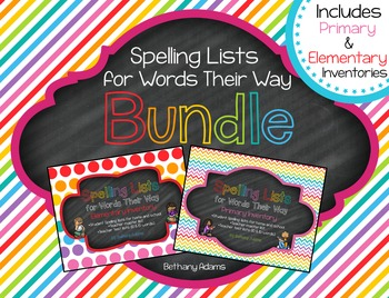 Spelling Lists for Words Their Way Bundle **Primary & Elem