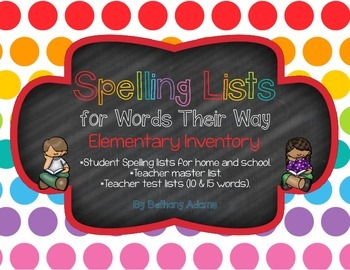 Spelling Lists for Words Their Way - Elementary Inventory