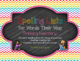 Spelling Lists for Words Their Way - Primary Inventory