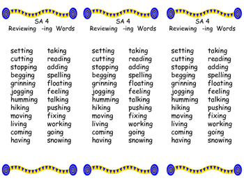Spelling Lists for Words Their Way Syllables and Affixes