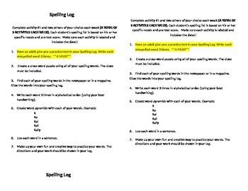 Spelling Log Instructions