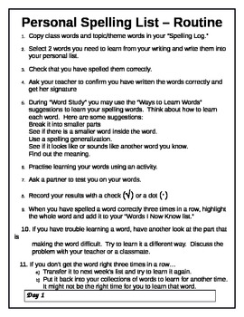Spelling Log - Weekly Routine Sheet