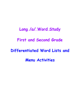 Spelling, Long /a/ word packet activities