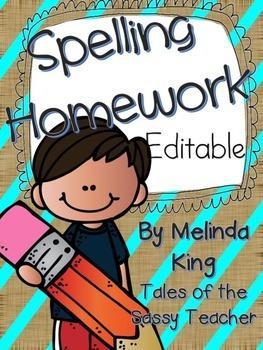 Editable Spelling Homework Made Simple