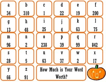 Spelling Math activity for Halloween