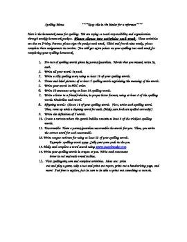 Spelling Menu 1st nine weeks