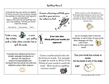 Spelling Menu 2