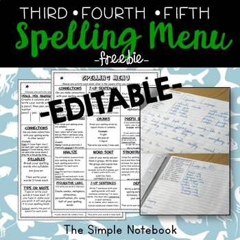 Spelling Menu Editable: 3-5 Grade